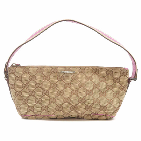 GUCCI GG Canvas Leather Hand Bag Purse Beige Purple 141809