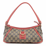 GUCCI Abbey Line GG Canvas Leather Shoulder Bag Navy Red