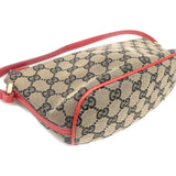 GUCCI GG Canvas Leather Hand Bag Purse Pouch 039.1103 Beige