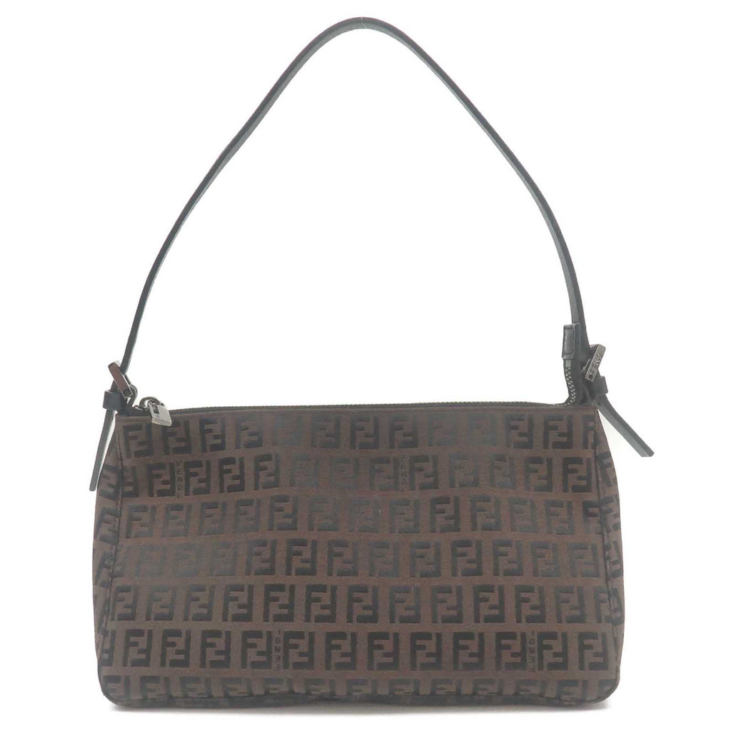 FENDI-Zucchino-Canvas-Leather-Shoulder-Bag-Purse-Brown-Black