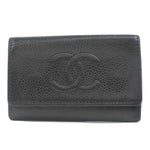 CHANEL-Caviar-Skin-Coco-Mark-Key-Case-For-6-Keys-Black-Silver