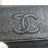 CHANEL Caviar Skin Coco Mark Key Case For 6 Keys Black Silver