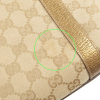 GUCCI Abbey Line GG Canvas Leather Tote Bag Beige Gold 141470