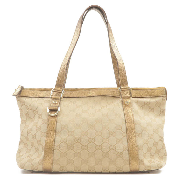 GUCCI-Abbey-Line-GG-Canvas-Leather-Tote-Bag-Beige-Gold-141470