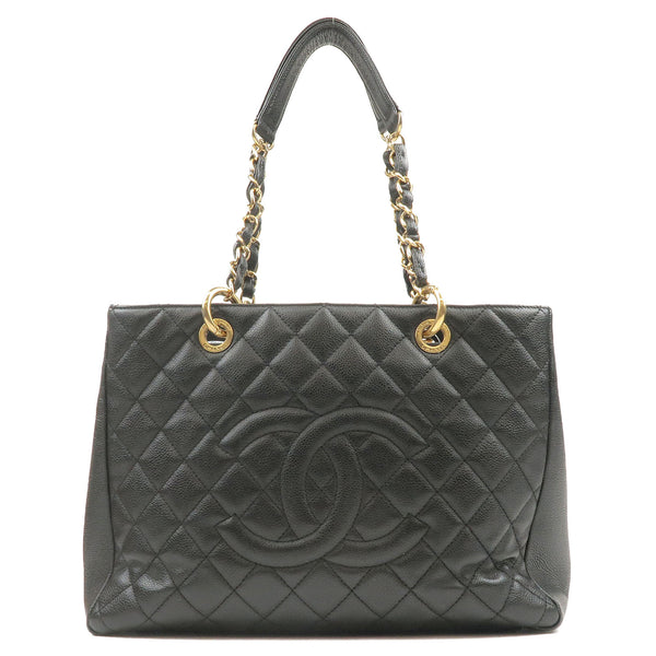 CHANEL-Caviar-Skin-GST-Chain-Tote-Bag-Black-Gold-A50995