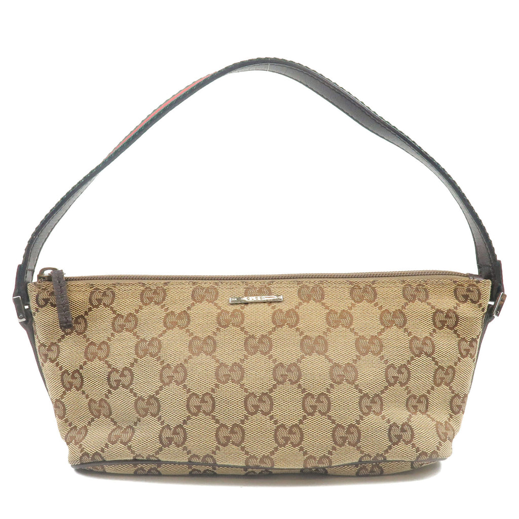 GUCCI-Sherry-Line-GG-Canvas-Leather-Pouch-Beige-Brown-141809