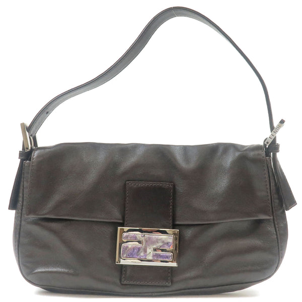 FENDI-Leather-Stone-Mamma-Baguette-Canvas-Shoulder-Bag-Brown
