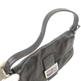 FENDI Leather Stone Mamma Baguette Canvas Shoulder Bag Brown