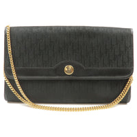 Christian-Dior-Trotter-Canvas-Leather-Chain-Bag-Black