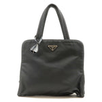 PRADA-Nylon-Leather-Hand-Bag-Purse-Black