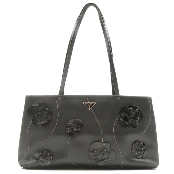PRADA-Leather-Flower- Patchwork-Shoulder-Bag-Black-B11284