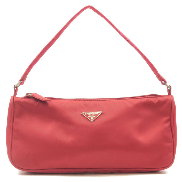 PRADA-Nylon-Purse-Pouch-Hand-Bag-Shoulder-Bag-Red