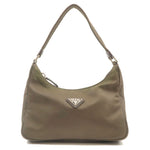PRADA-Nylon-Leather-Pouch-Clutch-Shoulder-Bag-Khaki