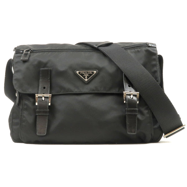 PRADA-Nylon-Leather-Messenger-Shoulder-Bag-Black-BT6671