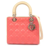 Christian-Dior-Lady-Dior-Cannage-2Way-Hand-Bag-Pink-Ivory