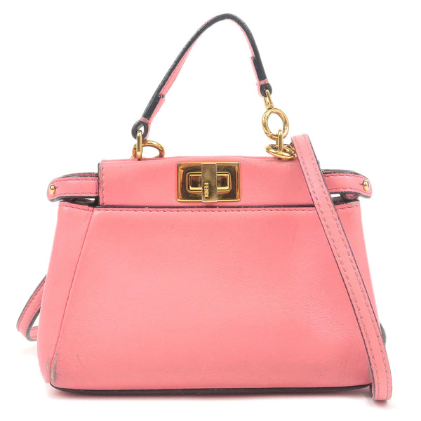 FENDI Micro Peekaboo Leather  2Way Hand Bag Fuchsia 8M0355