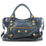 BALENCIAGA Giant City Leather 2WAY Hand Bag Navy 173084