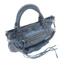 BALENCIAGA The First Leather 2Way Hand Bag Navy 103208