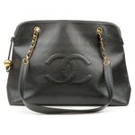 CHANEL-Caviar-Skin-Chain-Tote-Bag-Black-Gold