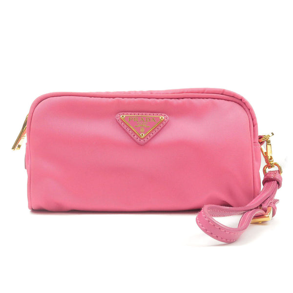 PRADA-Nylon-Leather-Pouch-Clutch-Fuchsia-1N1865