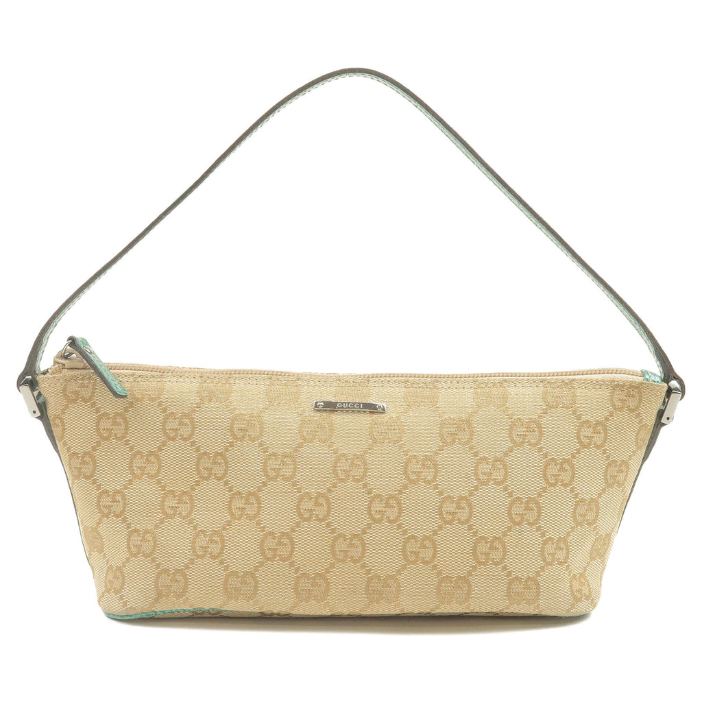 GUCCI-GG-Canvas-Leather-Pouch-Beige-Green-07198