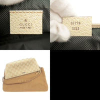 GUCCI GG Canvas Leather Pouch Beige Ivory 07198