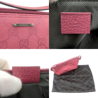 GUCCI GG Canvas Leather Pouch Hand Bag Purse Pink 07198