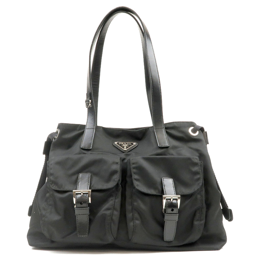 PRADA-Nylon-Leather-Tote-Bag-Black-BR3257
