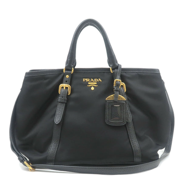 PRADA-Nylon-Leather-2Way-Hand-Bag-Shoulder-Bag-Black-BN1841