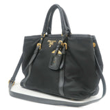 PRADA Nylon Leather 2Way Hand Bag Shoulder Bag Black BN1841