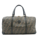 FENDI-Zucca-Print-PVC-Leather-Boston-Bag-Khaki-Black