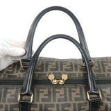 FENDI Zucca Print PVC Leather Boston Bag Khaki Black