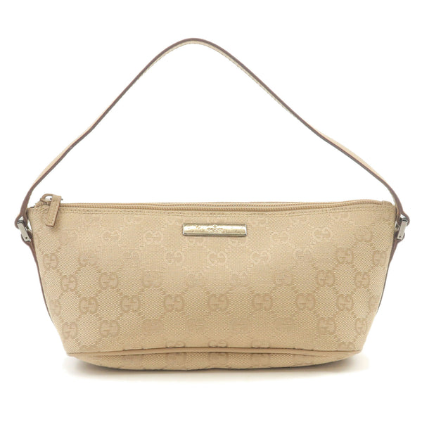 GUCCI-GG-Canvas-Leather-Hand-Bag-Purse-Pouch-Beige-07198