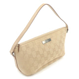 GUCCI GG Canvas Leather Hand Bag Pouch Purse Beige 07198