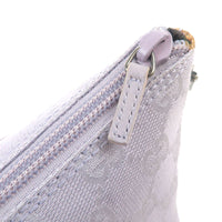 GUCCI GG Canvas Leather Hand Bag Purse Pouch Lavender 07198