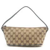 GUCCI-GG-Canvas-Leather-Hand-Bag-Purse-Pouch-Beige-Navy-07198