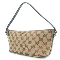 GUCCI GG Canvas Leather Hand Bag Purse Pouch Beige Navy 07198