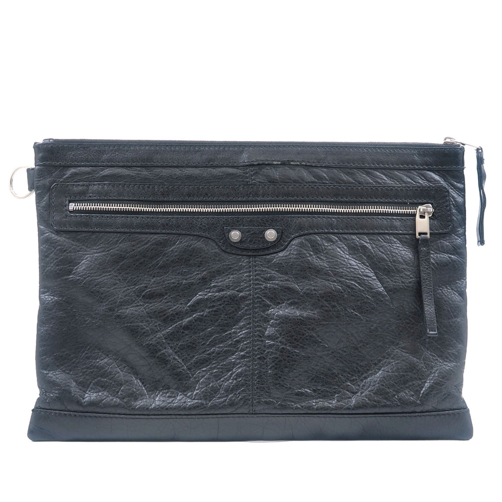 BALENCIAGA-Leather-Classic-Clip-L-Clutch-Bag-Black-273023