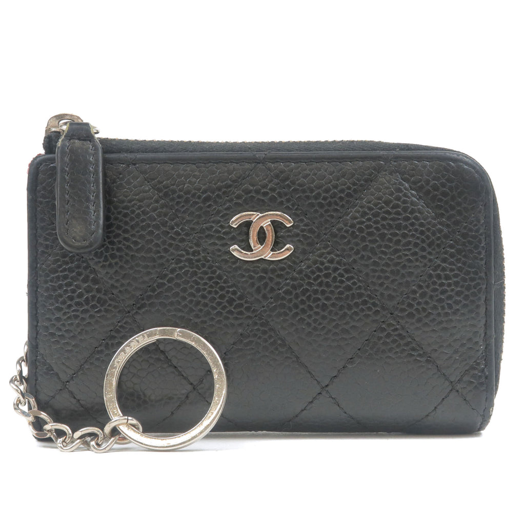 CHANEL-Matelasse-Caviar-Skin-Zipper-Coin-Case-Black-A68943