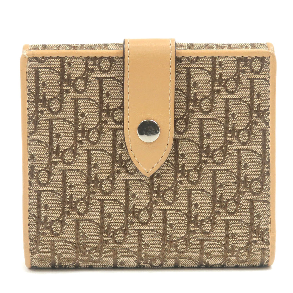 Christian-Dior-Trotter-Canvas-Leather-Wallet-Beige