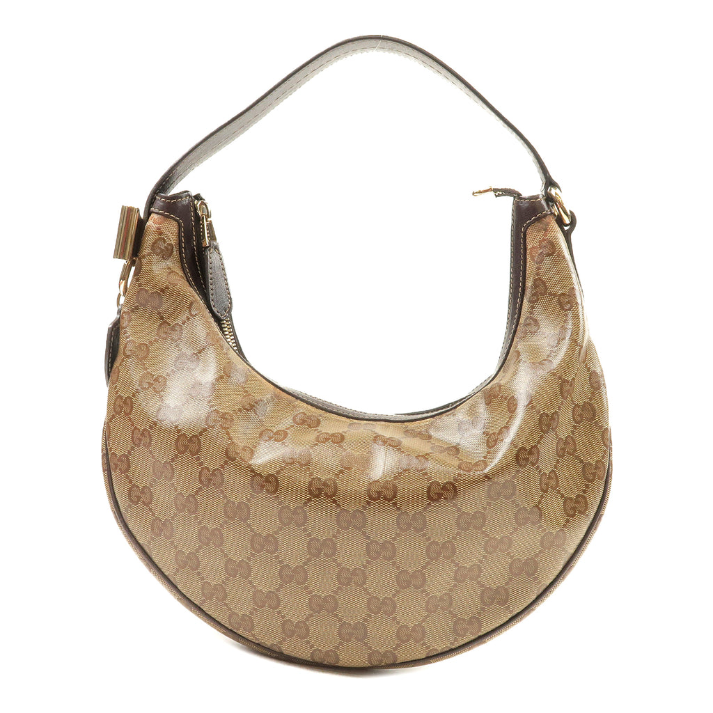 GUCCI-GG-Crystal-Leather-Shoulder-Bag-Beige-Brown-181493