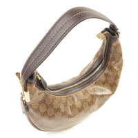 GUCCI GG Crystal Leather Shoulder Bag Beige Brown 181493