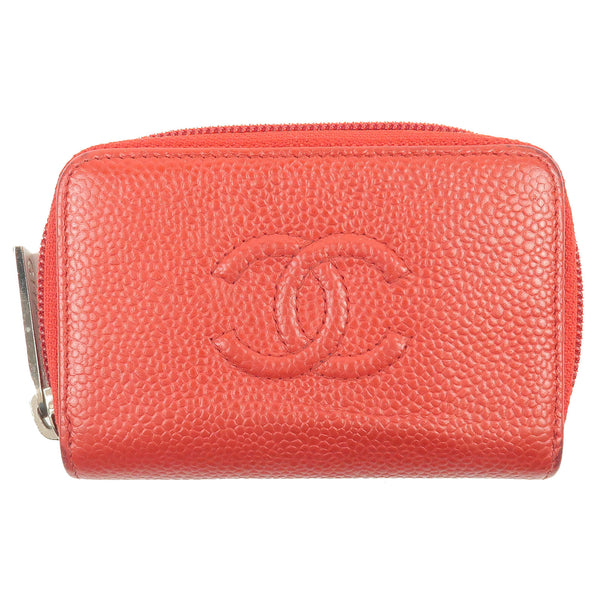 CHANEL-Caviar-Skin-Round-Zipper-Coin-Case-Wallet-Red-A68890