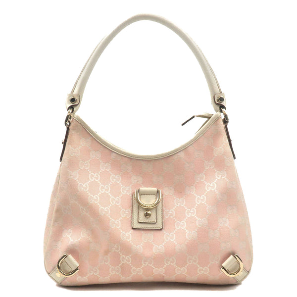 GUCCI-Abbey-GG-Canvas-Leather-Shoulder-Bag-Pink-White-130738