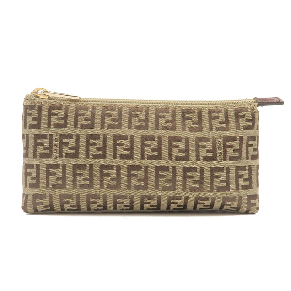 FENDI-Zucchino-Canvas-Leather-Pouch-Beige-Brown-7N0037
