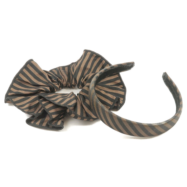 FENDI-Pequin-Canvas-Set-of-ChouChou-Hair-Tie-&-Headband-Brown
