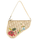 Christian-Dior-Trotter-Flower-Embroidery-Saddle-Shoulder-Bag