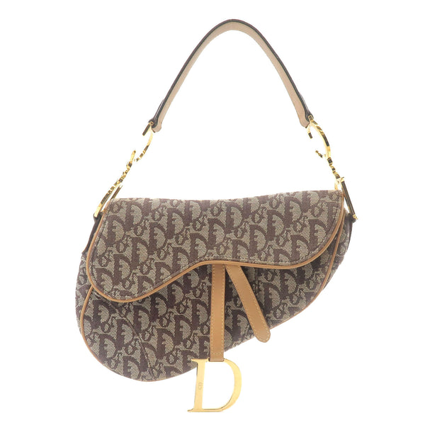 Christian-Dior-Trotter-Saddle-Bag-Shoulder-Bag-Canvas-Brown-