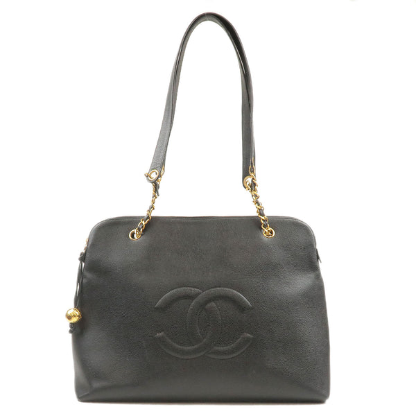 CHANEL-Caviar-Skin-Chain-Tote-Bag-Black-3636723