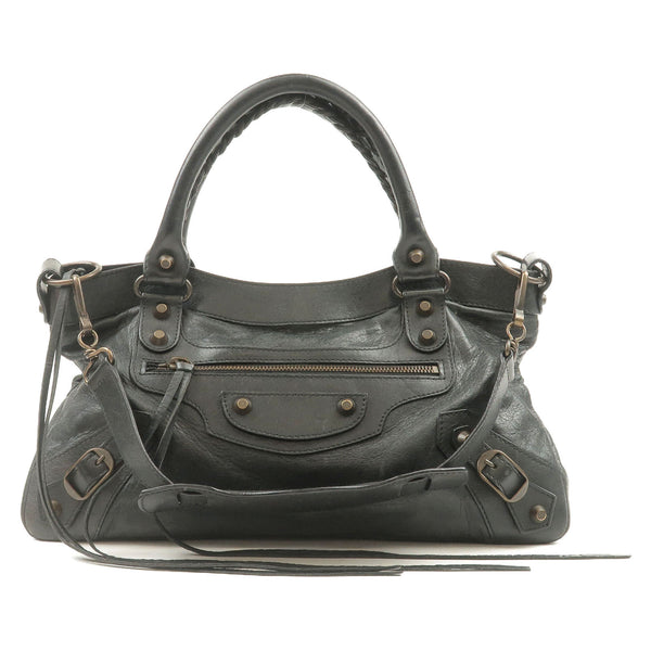 BALENCIAGA-The-First-Leather-2Way-Hand-Bag-Black-103208